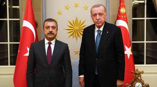 Cumhurbaşkanı Recep Tayyip Erdoğan, Türkiye Cumhuriyet Merkez Bankası Başkanı Şahap Kavcıoğlu'nu Çankaya Köşkü'nde kabul etti.