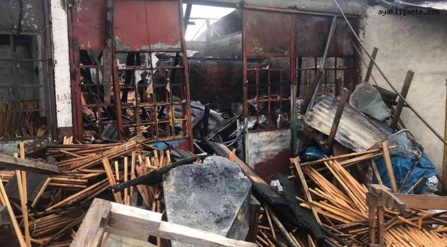 Kereste atölyesinde çıkan yangın itfaiye ekiplerince söndürüldü